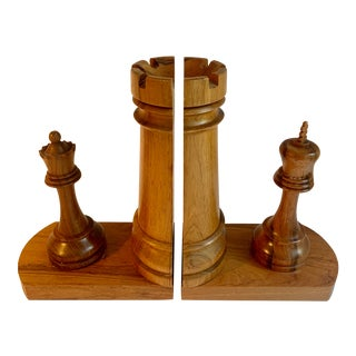 20th Century Chess Piece Bookends - a Pair For Sale