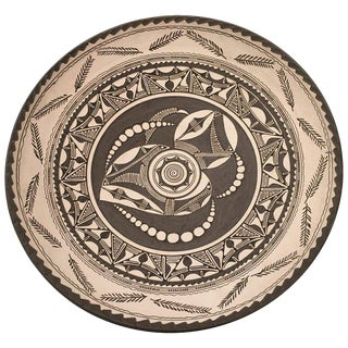 20th Century Stoneware Matte Dish With Ornamentals Relief Motifs For Sale