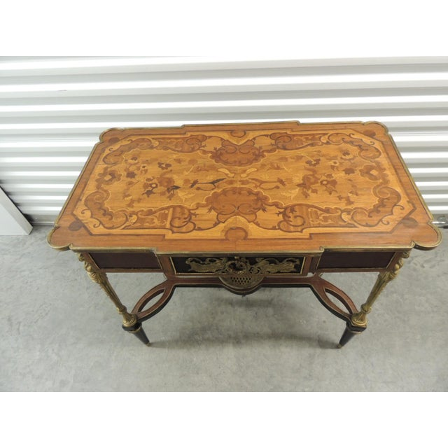French Vintage Reproduction of Louis XVI Style Center Table For Sale - Image 3 of 10