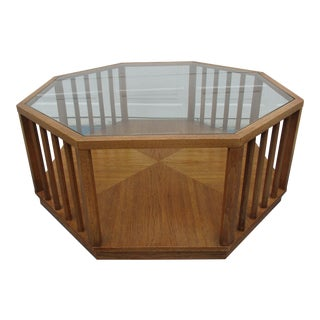 Mid-Century Modern Glass Top Octagon Coffee Table For Sale