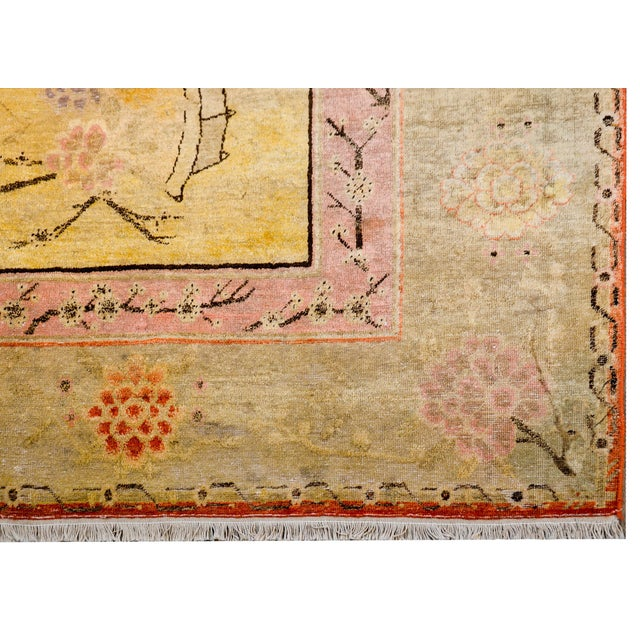 Early 20th Century Pictorial Khotan Rug For Sale - Image 9 of 11