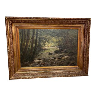 Turn of the Century French Painting of River Scene in Original Frame For Sale