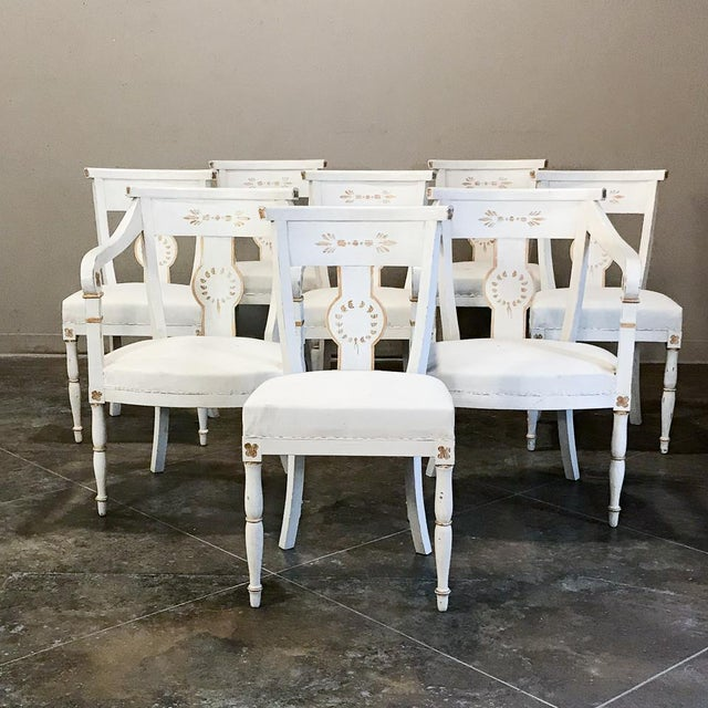 Set of 8 French Directoire Painted Chairs Includes 2 Armchairs For Sale - Image 13 of 13