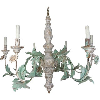 Monumental Vintage Wood Painted and Metal 6-Light Chandelier $4,800 For Sale
