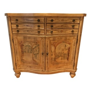 1990s Mediterranean Hooker Furniture Serpentine Commode/ Painted Dresser/Console For Sale