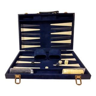 Vintage Backgammon Bakelite Game Set in Blue & White - 37 Pieces + Box For Sale
