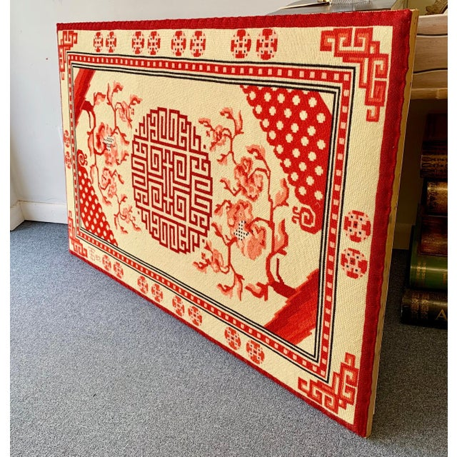 Wood Chinese Textile Art Needlepoint Panel For Sale - Image 7 of 9