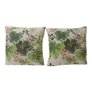 Pair of Green and Pink Vines Bark Cloth Decorative Pillows For Sale