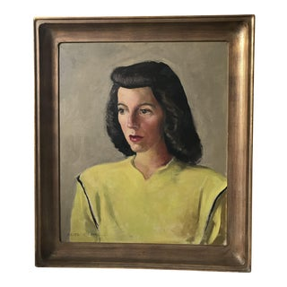 Original Portrait of Woman in Yellow - Signed