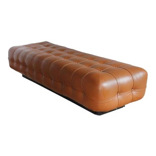 Nicos Zographos Mid-Century Tufted Leather Floating Bench