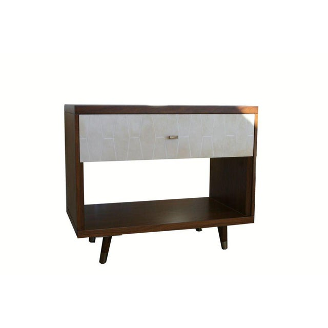 2010s Customizable Francois Walnut and Parchment Nightstands For Sale - Image 5 of 9