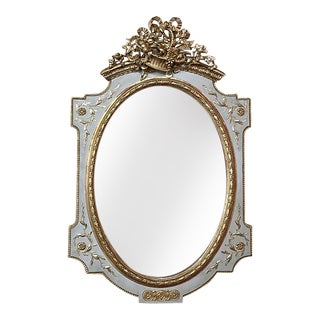 Grand French Louis XVI Painted Mirror, Ca. 1890s For Sale