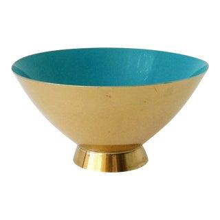 1950s Mid-Century Modern Donald Colflesh Enamel Brass Bowl