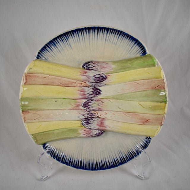 Pexonne French Faïence Majolica Hand-Painted Asparagus Plate For Sale - Image 11 of 11