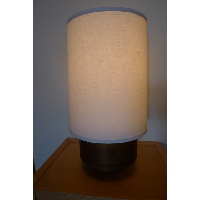 Modern Brass Table Lamp with Linen Shade For Sale - Image 5 of 9