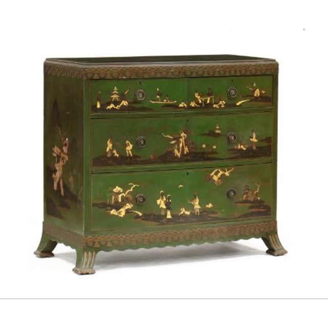 Green Chinoiserie Decorated Bow Front Chest of Drawers For Sale - Image 8 of 8
