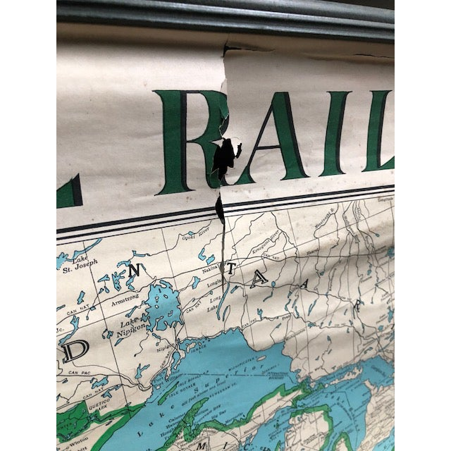 Vintage Illinois Central Railroad Pull Down Map For Sale - Image 9 of 12
