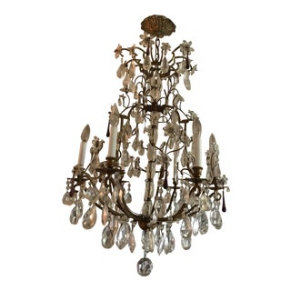 19th C. French Crystal and Amethyst Chandelier For Sale
