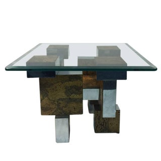 BRUTALIST PAUL EVANS CITYSCAPE BURL WOOD AND CHROME COFFEE /COCKTAIL TABLE