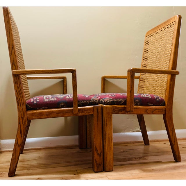 Lou Hodges Mid-Century Lou Hodges Style Tall Cane Back Chairs- A Pair For Sale - Image 4 of 9