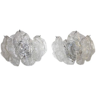 Italian Murano Mazzega Clear Leaf Wall Light Sconces - Set of 4