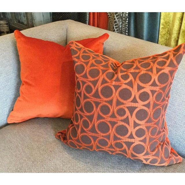 Kravet Orange Circle Jacquard/Pollack Orange Silk Velvet Pillows - a Pair - Image 5 of 8