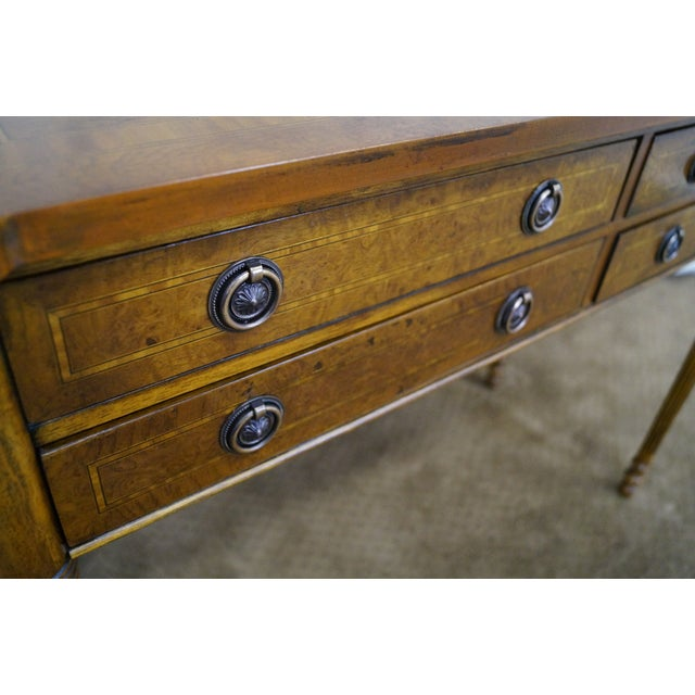 English Burl Walnut Sheraton Style Console Table For Sale - Image 9 of 10
