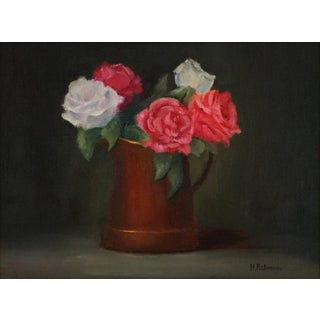 "Helene Robinson ""Roses in Copper Pot"" Oil Painting For Sale"