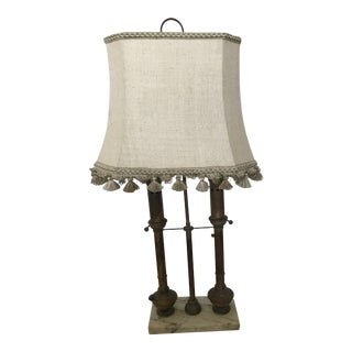 Vintage Patina Brass & Carrara Statuary Marble Library Lamp For Sale