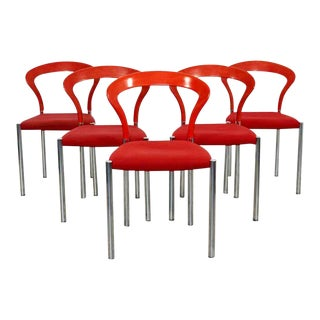 Contemporary Modern Hartmut Lohmeyer Set 5 Red Lotus Stacking Chairs Kusch 1980s For Sale