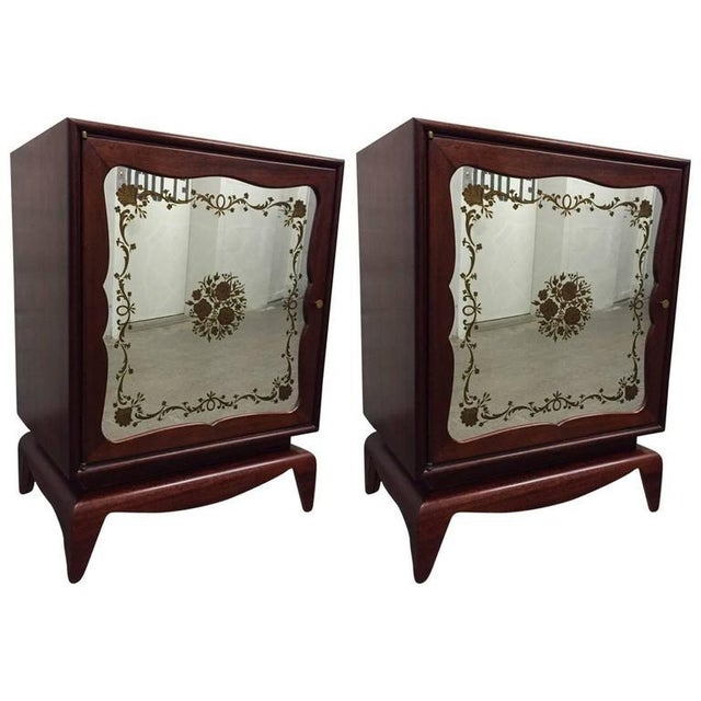 Pair of Mahogany Grosfeld House Cabinets with Etched Mirrored Panels For Sale In New York - Image 6 of 6