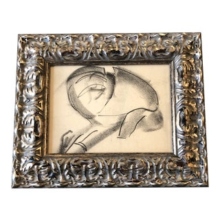 Vintage Original Abstract Charcoal Figure Study Drawing Ornate Frame 1950's For Sale