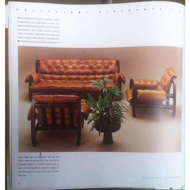 Metal Luciano Frigerio 1970s Italian Mahogany Tan Leather Lounge Armchair & Ottoman For Sale - Image 7 of 10