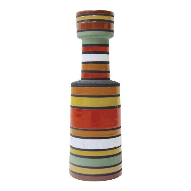 Mid Century Aldo Londi Stripe Vase For Sale