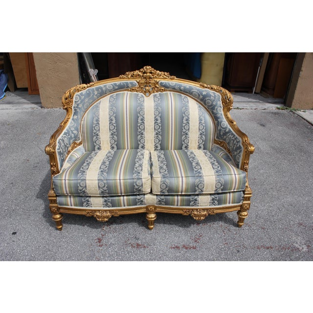 1940s 1940s Vintage French Louis XVI Style Giltwood Loveseat For Sale - Image 5 of 13