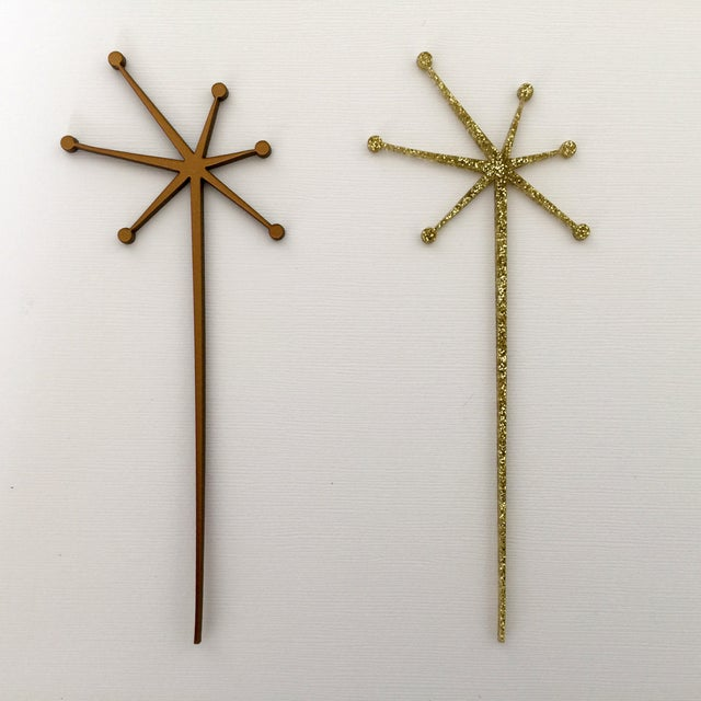 Solid Gold Mid-Century Starburst Drink Stirrers- 6 - Image 2 of 4