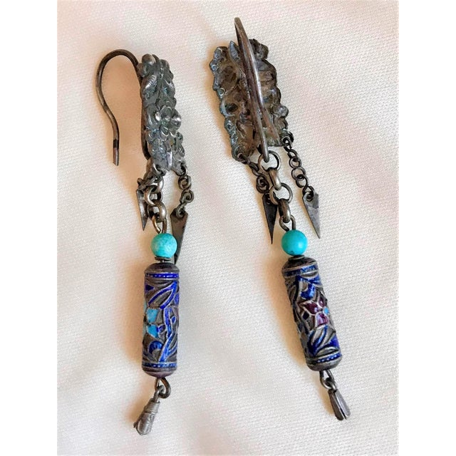 Early 20th Century Antique Chinese Enamel and Turquoise Bead Earrings For Sale - Image 5 of 7