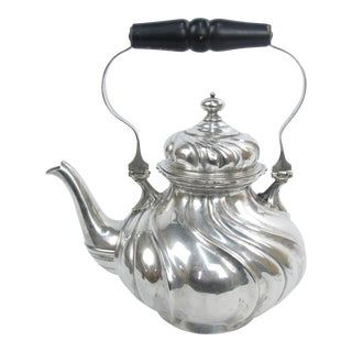 Early 20th Century 800 German Fine Silver Jugendstil Art Nouveau Fluted Spiral Swirl Teapot For Sale