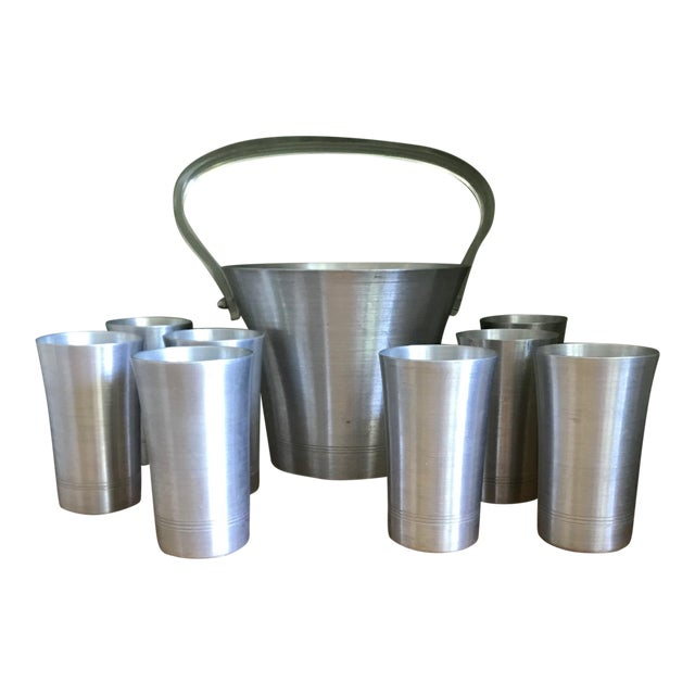 1970s Hand Turned Aluminum Ice Bucket With Lucite Handle and Matching Glasses - 9 Piece Set For Sale