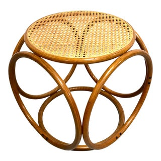 Vintage Bentwood & Cane Stool Designed by Thonet For Sale