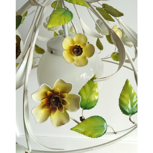 Mid-Century Italian Tole Light Fixture with Yellow Flowers - Image 4 of 6