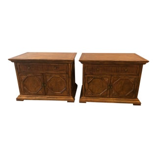 Solid Oak Nightstands by Century - A Pair For Sale