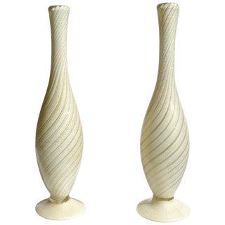Mid 20th Century Alfredo Barbini Murano Italian Gold and Aventurine Flecks Swirl Art Glass Vases - a Pair For Sale
