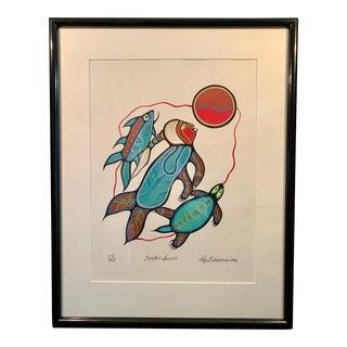 Roy Thomas Woodland Ojibway Art Signed Ltd Ed. Serigraph Water Spirit 1992 For Sale