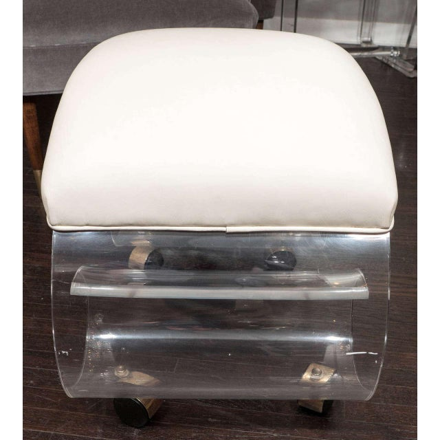 Mid-Century Modern 1970s Curved Lucite Stool For Sale - Image 3 of 5