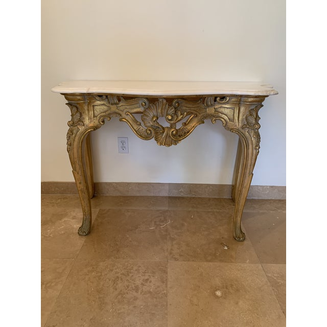 20th Century Louis XV Giltwood Console Table With Marble Top For Sale - Image 13 of 13