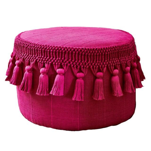 Pink Boho Chic Tassel Pouf - Image 1 of 3