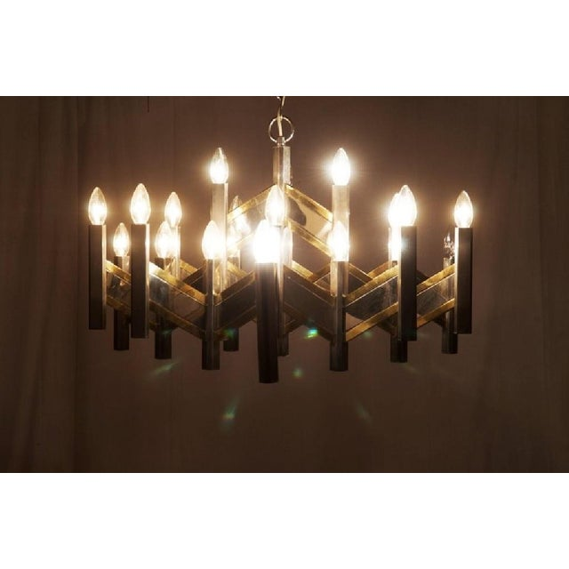 Italian Chrome and Brass Chevron Chandelier with 21 Lights by Gaetano Sciolari, 1966 For Sale - Image 6 of 11