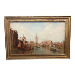 """Late 19th Century """"Ducal Palace, Venice"""" European Architectural Oil Painting by Alfred Pollentin, Framed For Sale"""