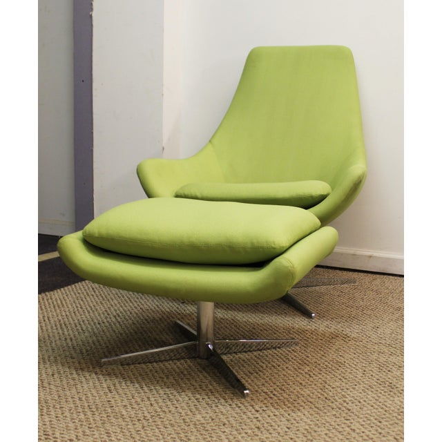 Mid-Century Lime Green Swivel Lounge Chair & Ottoman - Image 3 of 11